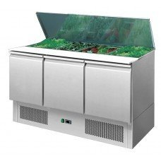 Brand New Atosa ICE3850 3 Door Bench Fridge Saladette For Sale