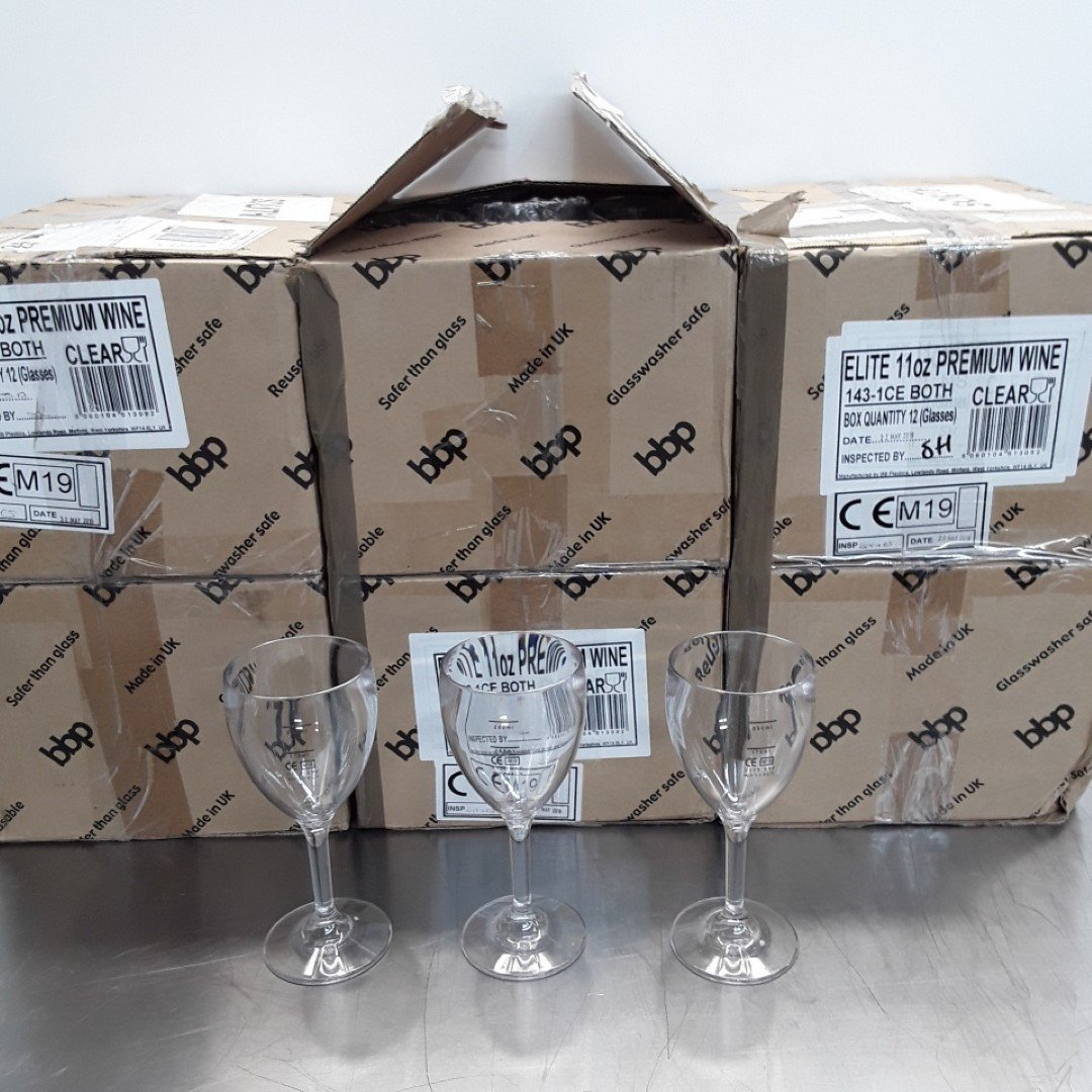 New B Grade  CG299 Polycarbonate Wine Glasses X 72 For Sale