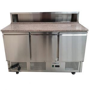 Brand New Diaminox ESL3854 3 Door Bench Fridge Saladette For Sale