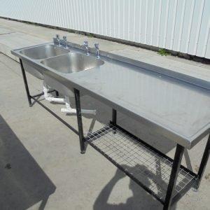 Stainless Steel Double Sink 244cmW x 62cmD x 84cmH