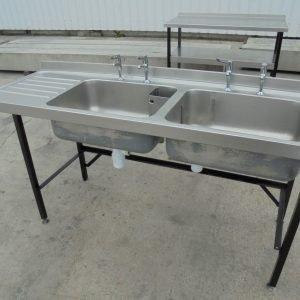Stainless Steel Double Sink 180cmW x 65cmD x 87cmH
