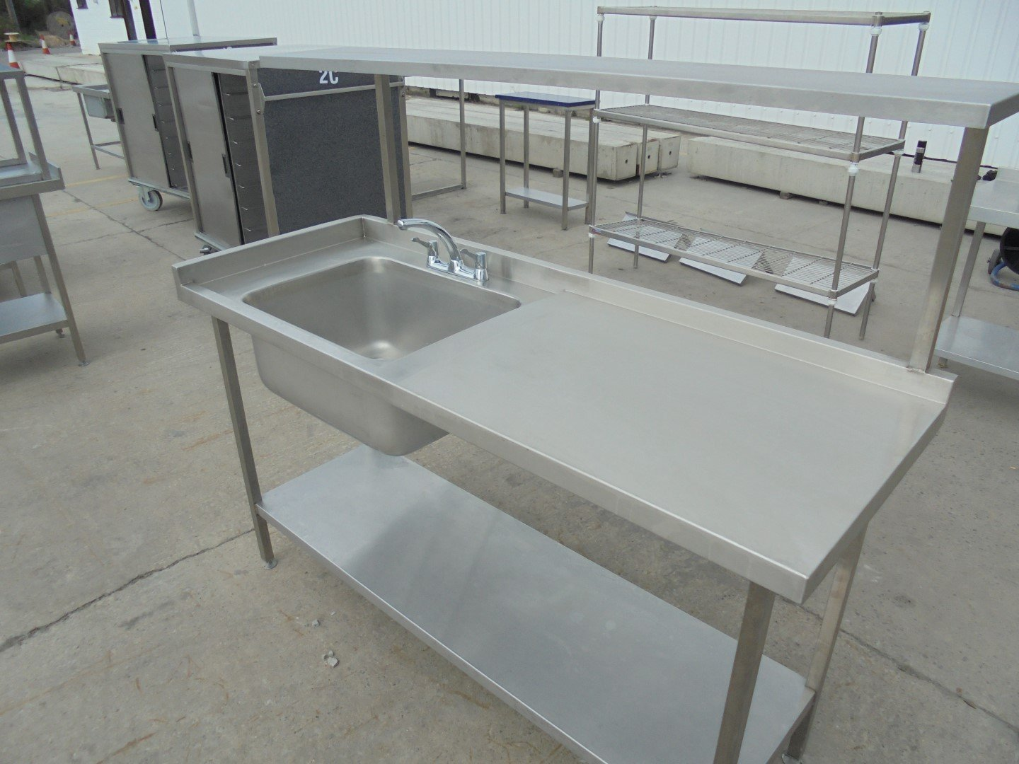 Stainless Steel Single Bowl Sink Table 174cmw X 65cmd X