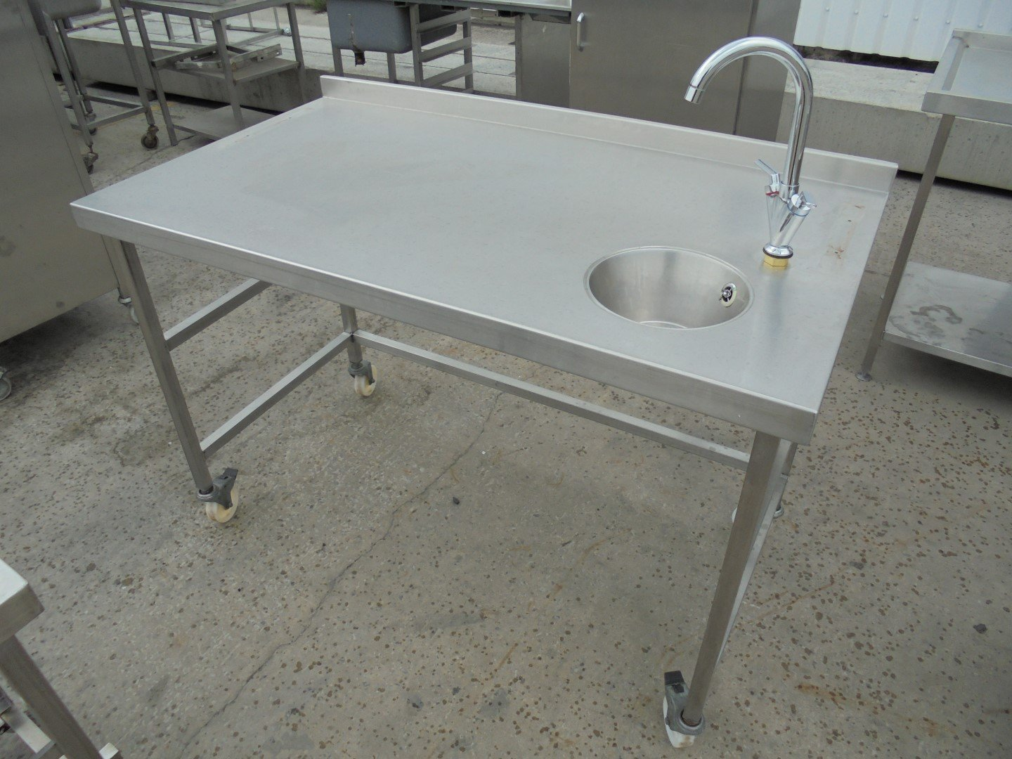 Stainless Steel Table With Hand Wash Sink 135cmw X 75cmd X