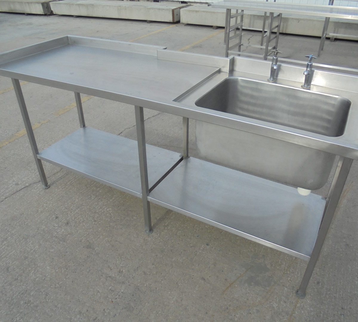 used stainless steel single bowl sink table 200cmw x. Black Bedroom Furniture Sets. Home Design Ideas