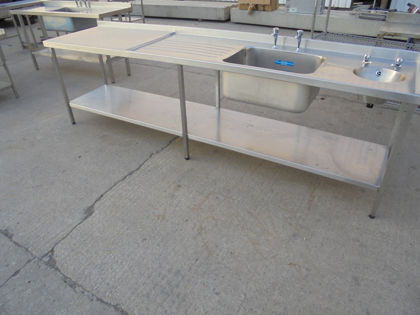 Used Stainless Steel Double Bowl Sink Table 300cmw X