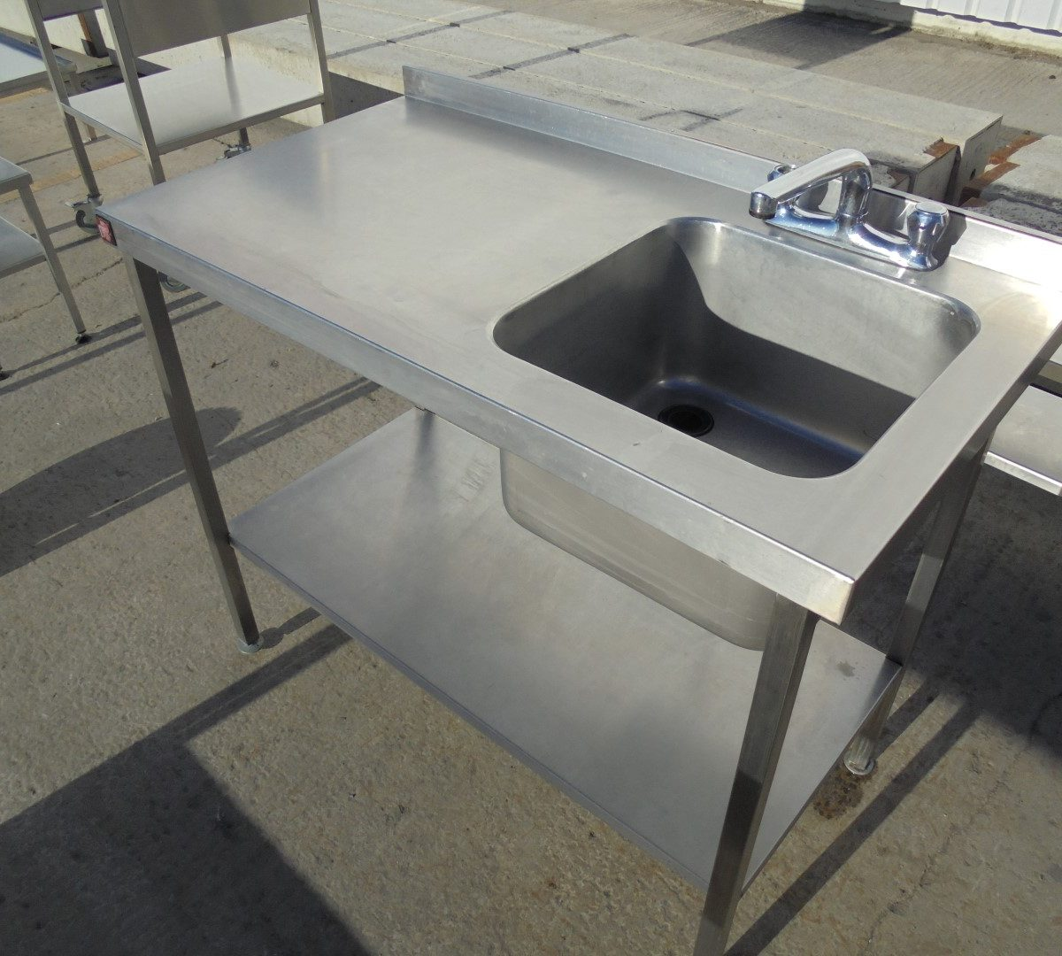 used parry stainless steel single bowl sink table 110cmw. Black Bedroom Furniture Sets. Home Design Ideas