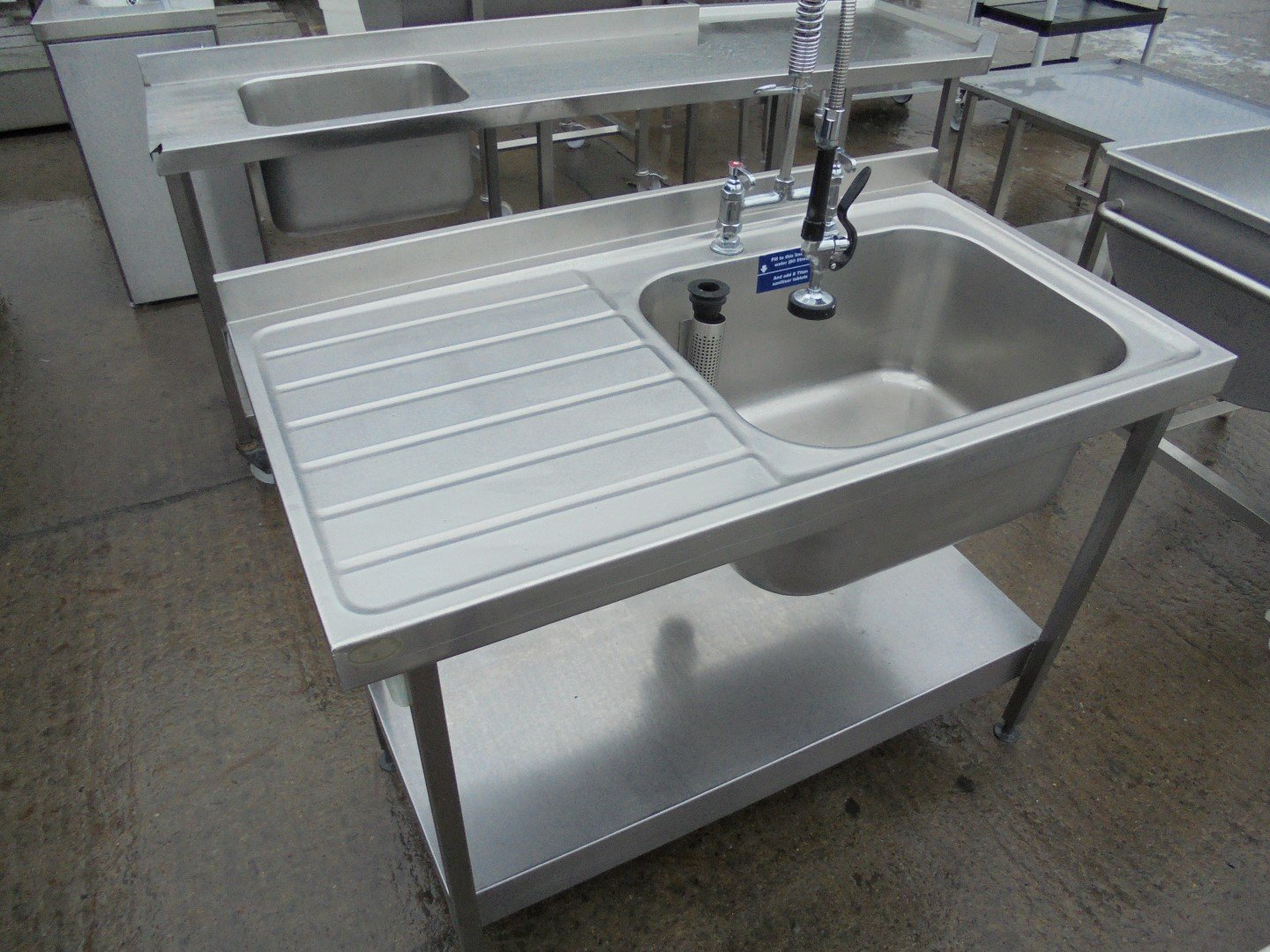 Used Stainless Steel Single Bowl Sink 120cmw X 65cmd X