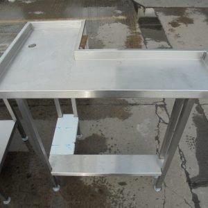 Used Stainless Steel Corner Table  Work bench Restaurant Prep Food Kitchen 94cmW x 60cmD x 90cmH