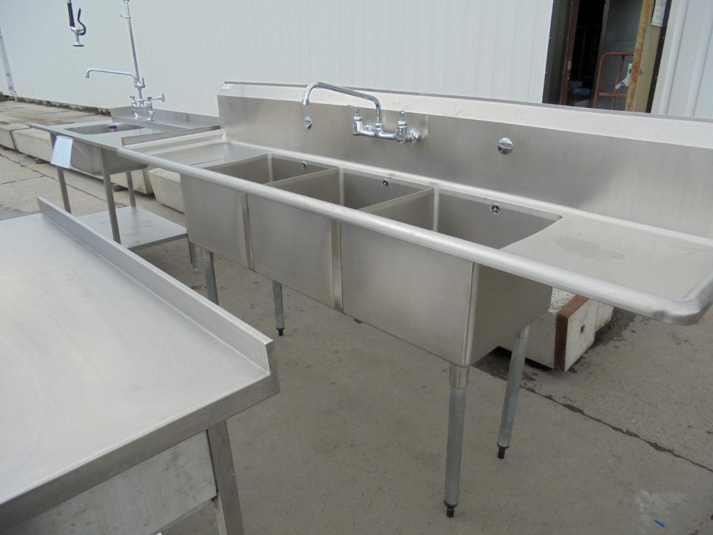 Used vogue stainless steel triple bowl sink kitchen catering prep wash up 229cmw x 61cmd x 93cmh