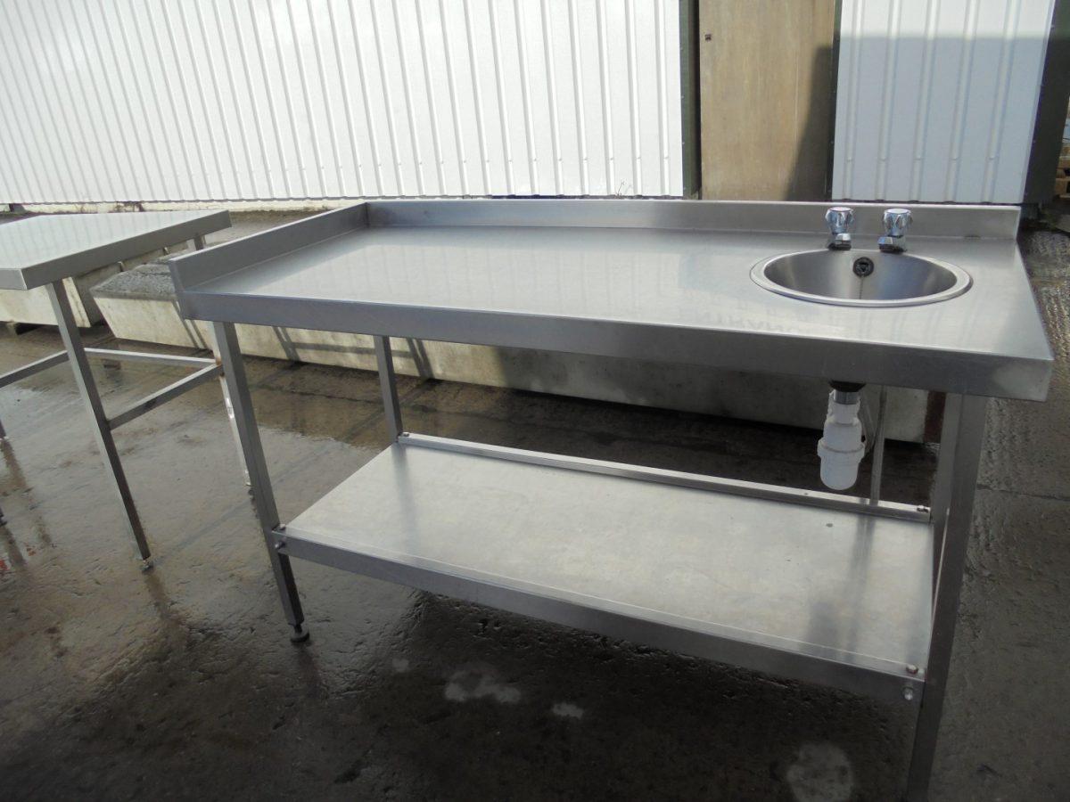 Used Stainless Steel Hand Sink Table 1 5 Meter Work