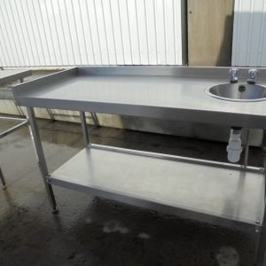 Used Stainless Steel Hand Sink Table | 1.5 meter Work Kitchen Food Wash Up Prep Dish Tap