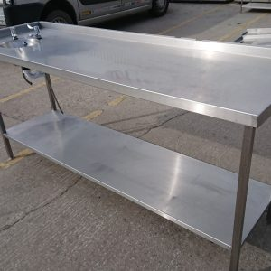 Used   Stainless Steel Table With Hand Sink 210cmW x 65cmD x 90cmH