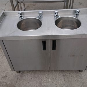 Used   Stainless Steel Double Bowl Bar Sink Cabinet For Sale