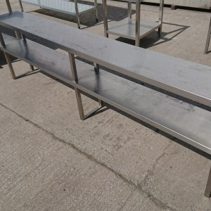 Used   Stainless Steel 2 Tier Non Heated Gantry Shelf 240cmW x 30cmD x 70cmH