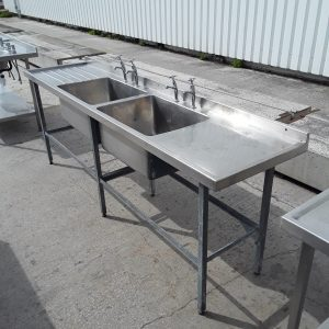 Used   Stainless Steel Double Bowl Sink Drainer For Sale