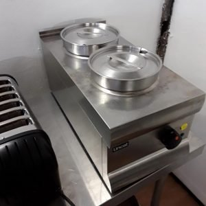 Used Lincat BS3 Stainless Steel Table Top Double 2 Dry Bain Marie For Sale