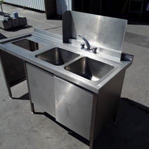 Used   Stainless Steel Double Bowl Sink Drainer Cabinet For Sale