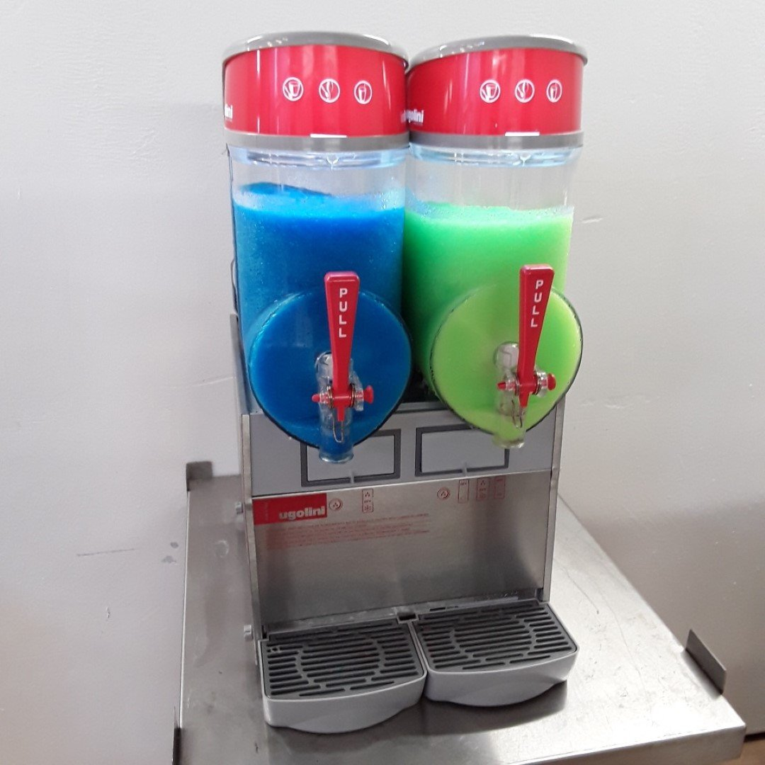 Used Ugolini MT 2 GL Double 2 Flavour Slush Puppy Iced Drink Maker Table Top For Sale