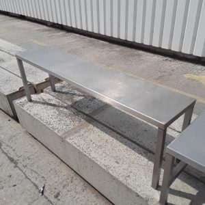 Used   Stainless Steel Table Top Gantry Shelf Stand 142cmW x 30cmD x 45cmH