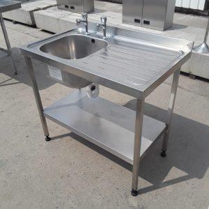 Used Sissons  Stainless Steel Single Bowl Sink Drainer Shelf 100cmW x 60cmD x 88cmH