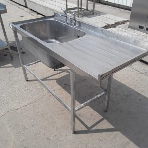 Used   Stainless Steel Single Bowl Sink Drainer 154cmW x 67cmD x 89cmH