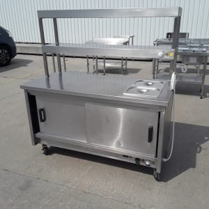 Used   Stainless Steel Hot Cupboard Heated Gantry Trolley Carvery Pass 150cmW x 70cmD x 87cmH