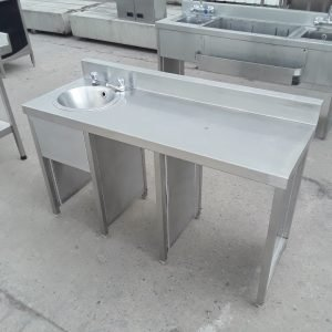 Used   Stainless Steel Bar Sink Table For Sale