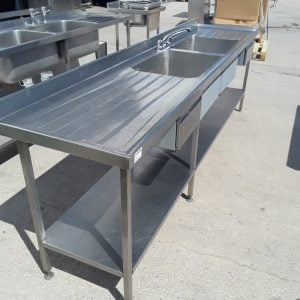 Used   Stainless Steel Double 2 Bowl Sink Drainer Shelf For Sale