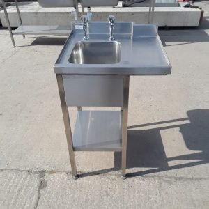 Used   Stainless Steel Single Bowl Sink Drainer Shelf For Sale