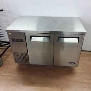 New B Grade Atosa YPF9022 Stainless Steel Double 2 Door Bench Fridge For Sale