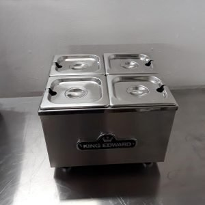 Used King Edward BM1 Stainless Steel Table Top 4 Pot Dry Bain Marie Warmer 36cmW x 34cmD x 27cmH