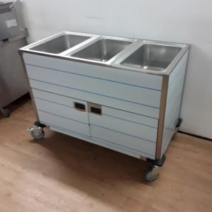 New RM Gastro BMPK 1320 CS 3 Pot Gastro Wet Bain Marie Cupboard Trolley For Sale