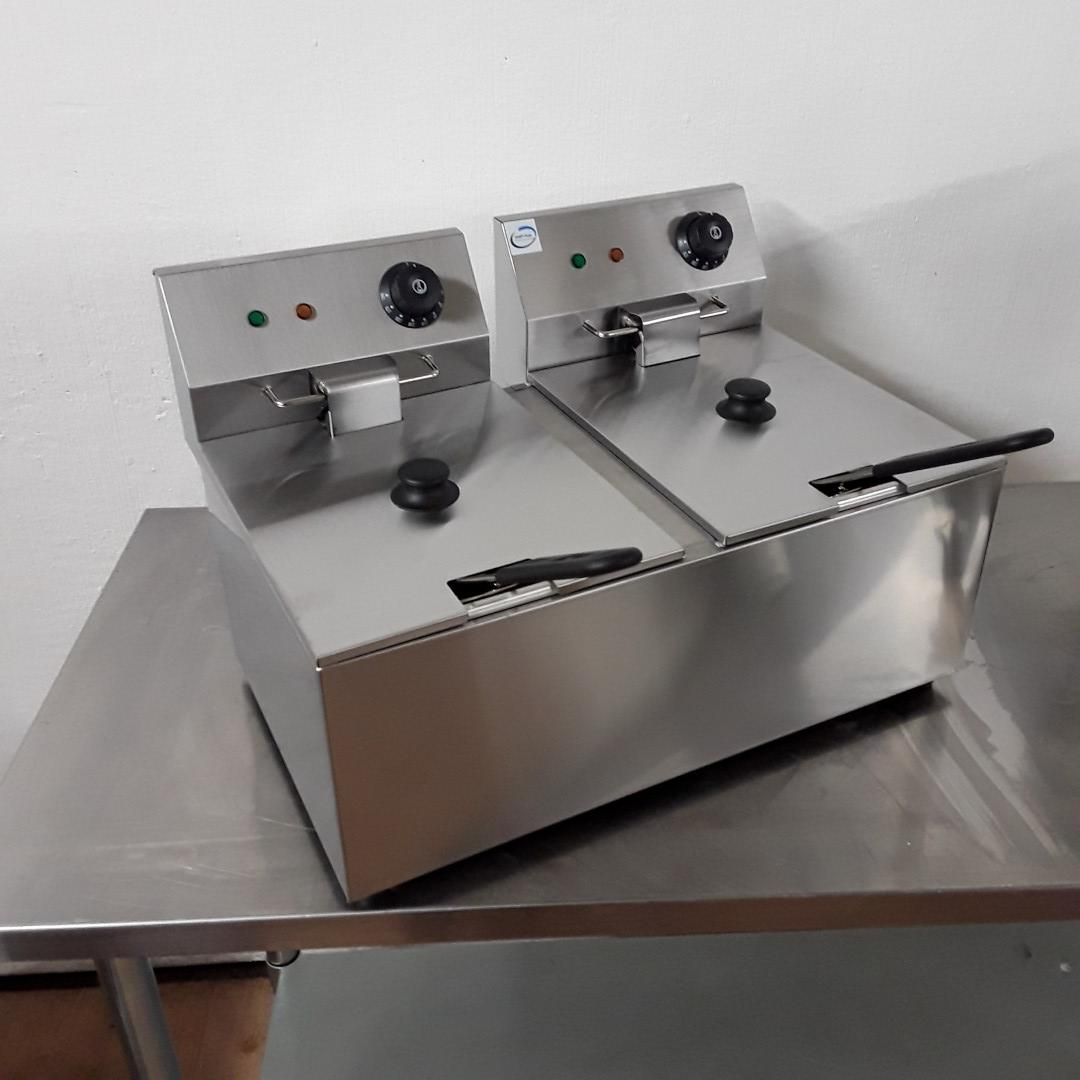 New Chef Hub EF-8L-2 Stainless Steel Table Top Double Fryer 8L For Sale
