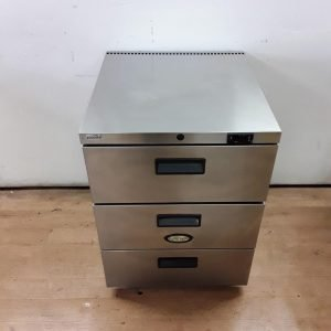 Used Foster HR150 Stainless Steel Triple Draw Fridge 60cmW x 66cmD x 83cmH