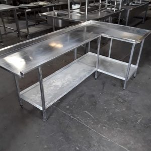 Used   Stainless Steel Dishwasher Table 122cmW x 213cmD x 95cmH