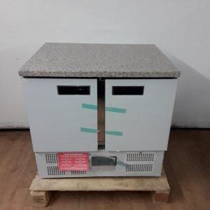 New Polar CL108 2 Door Bench Fridge Marble For Sale