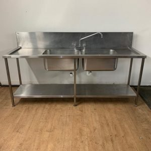 Used   Stainless steel double bowl double drainer sink For Sale