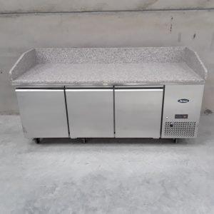 New B Grade Atosa EPF3485 3 Door Bench Fridge Marble Top For Sale