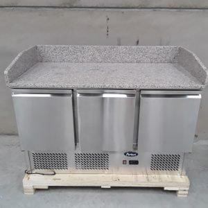 New B Grade Atosa ESL3852 3 Door Bench Fridge Marble Top For Sale