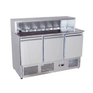 Brand New Atosa Ice-A-Cool ESL3854GR 3 Door Bench Fridge Saladette For Sale