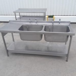 Used Pland  Stainless Steel Double Sink For Sale