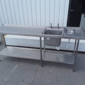 Used   Stainless Steel Double Sink Table For Sale