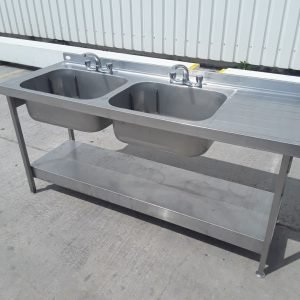 Used   Stainless Steel Double Sink For Sale